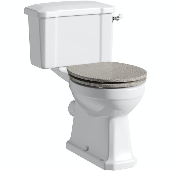 The Bath Co. Camberley close coupled toilet with soft close grey oak seat with pan connector