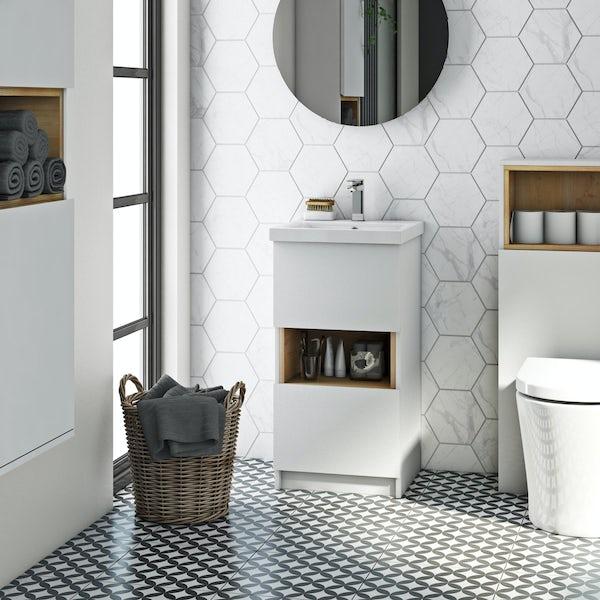 Mode Tate white & oak cloakroom vanity unit 420mm