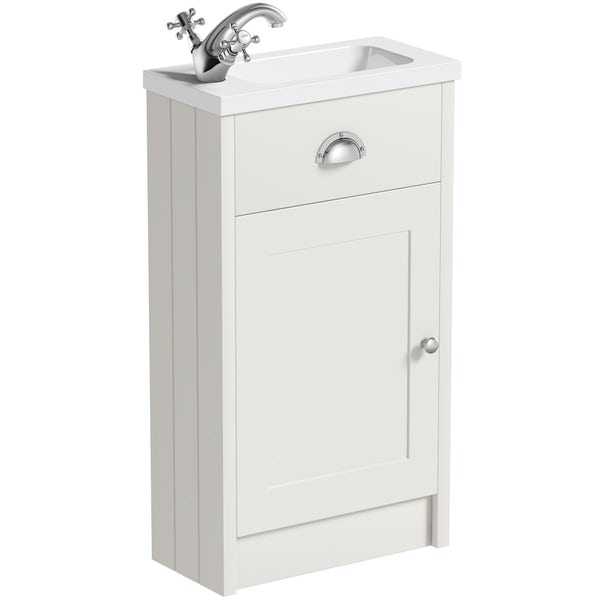 The Bath Co. Dulwich stone ivory cloakroom vanity with basin 450mm