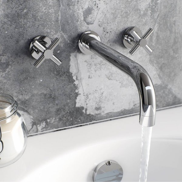 Mode Tate complete bathroom suite with left hand bath, shower and taps