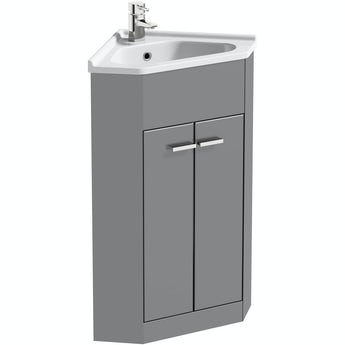 Clarity Compact satin grey corner floorstanding vanity unit and ceramic basin 580mm