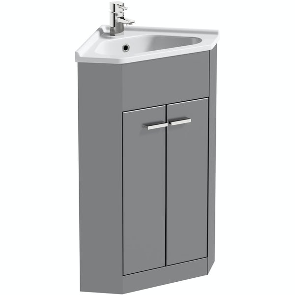 Clarity Compact satin grey corner floorstanding vanity unit and ceramic basin 580mm with tap
