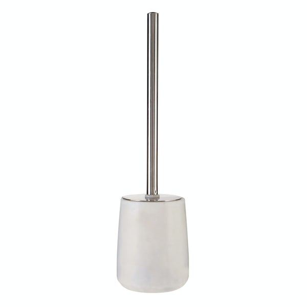 White marble toilet brush and holder