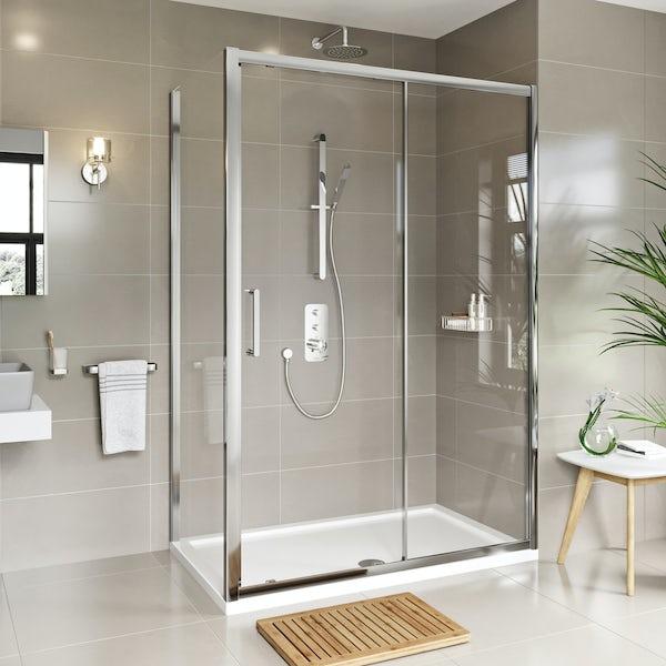 Louise Dear Love Affair acrylic shower wall panel with 1200 x 800mm rectangular enclosure