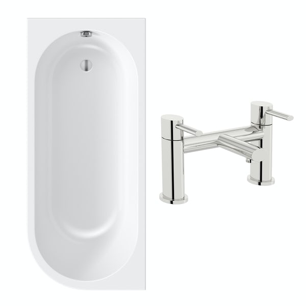 Orchard Elsdon left handed J shaped single ended bath 1700 x 750 with free tap