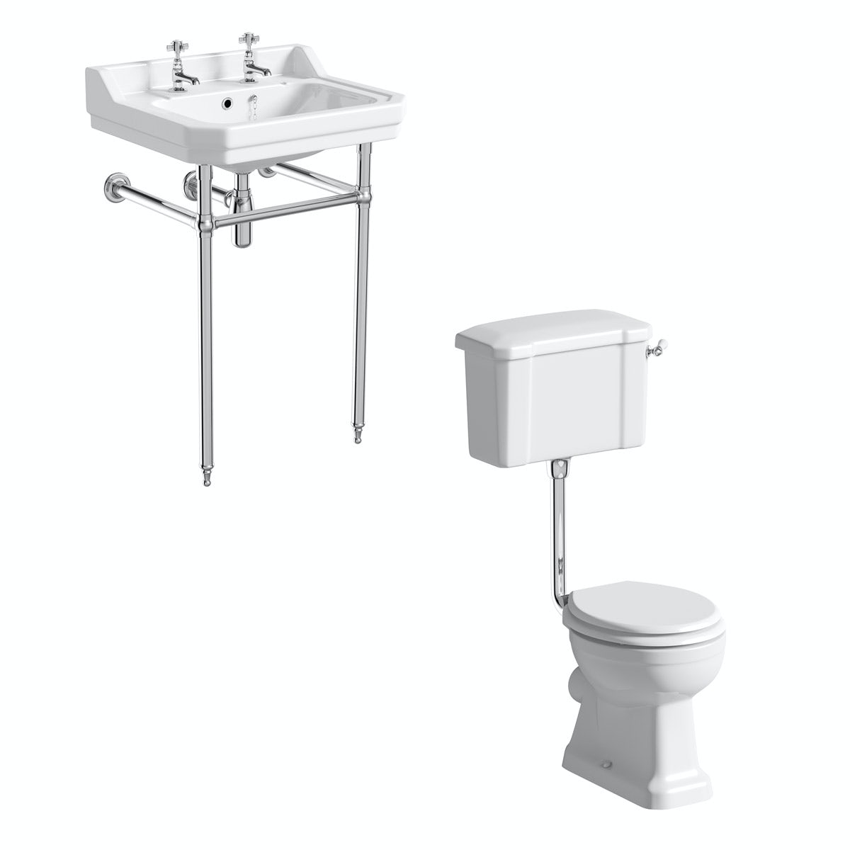 The Bath Co. Camberley cloakroom suite with low level traditional toilet with white seat, washstand and basin 610mm