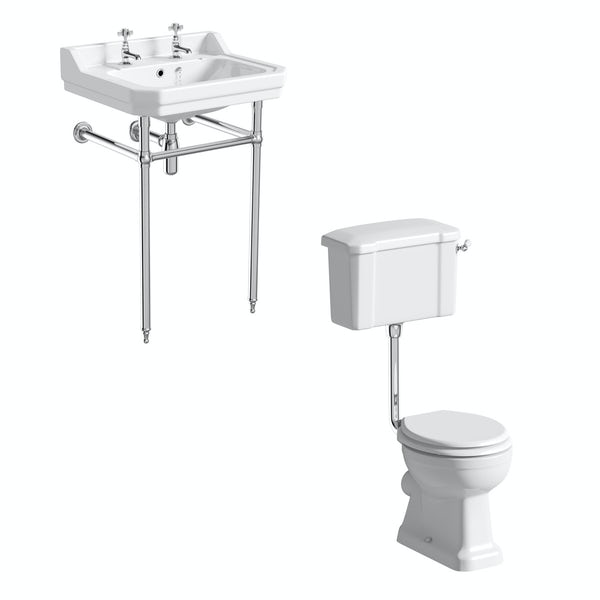 The Bath Co. Camberley cloakroom low level suite with white seat and washstand with basin
