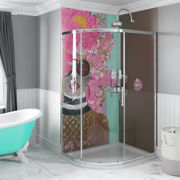 Louise Dear Kiss Kiss Bam Bam Brown acrylic shower wall panel pack with left handed offset quadrant enclosure