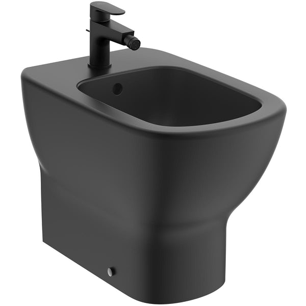 Ideal Standard Tesi silk black back to wall bidet with Cerafine O tap and waste
