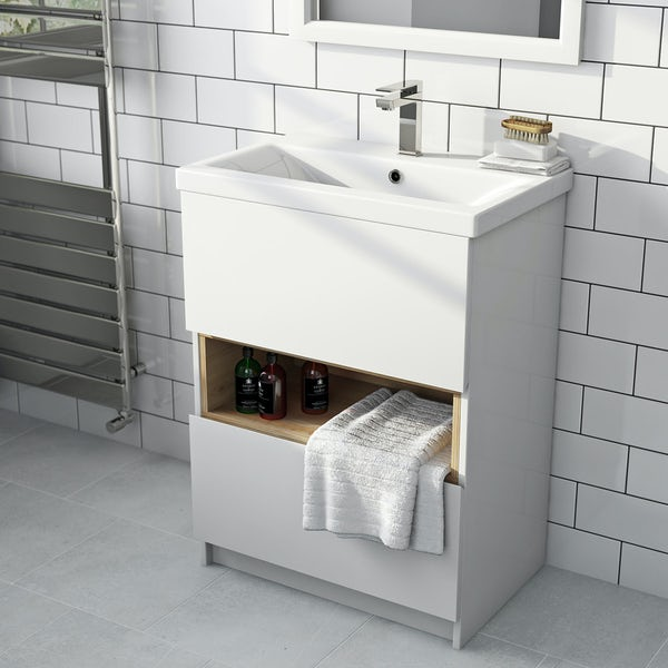 Tate white & oak 600 vanity unit with basin