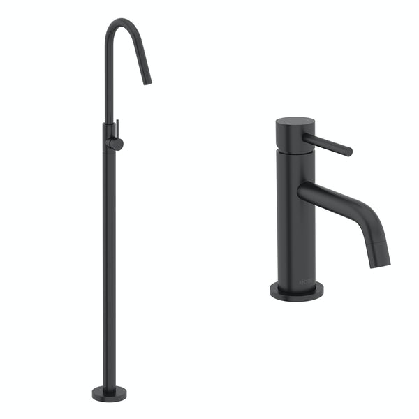 Mode Spencer black basin and freestanding bath filler tap pack