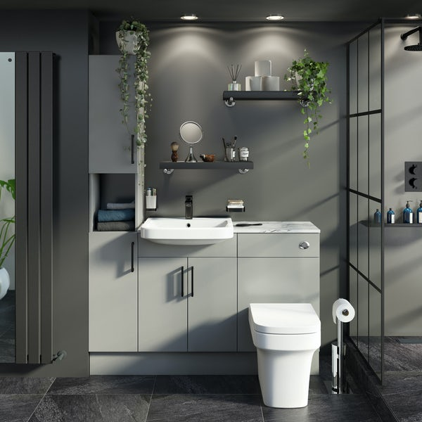 Reeves Wyatt light grey tall fitted furniture combination with white marble worktop