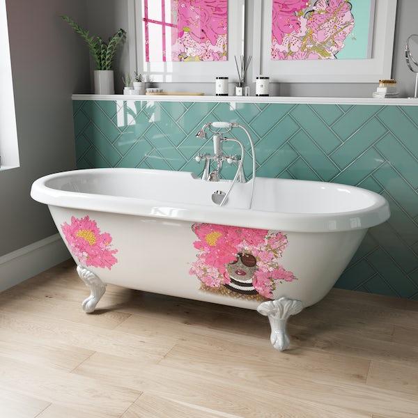 Louise Dear Kiss Kiss Bam Bam roll top freestanding bath with white claw feet