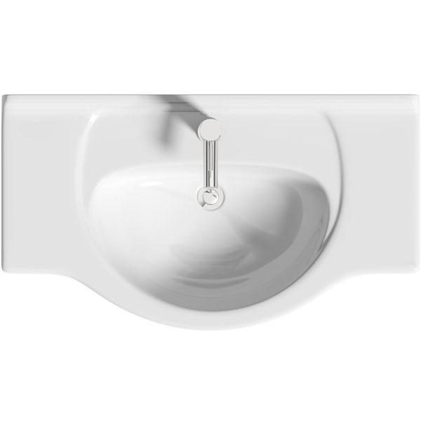 Orchard Elsdon white floorstanding vanity unit and ceramic basin 850mm