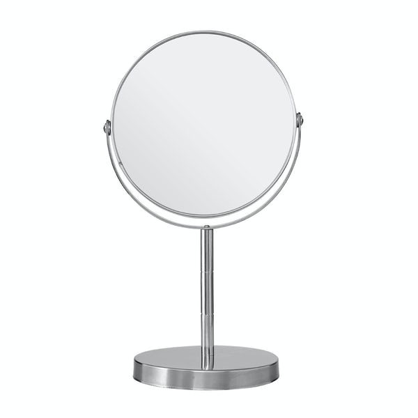 Chrome small freestanding vanity mirror with 2x magnification