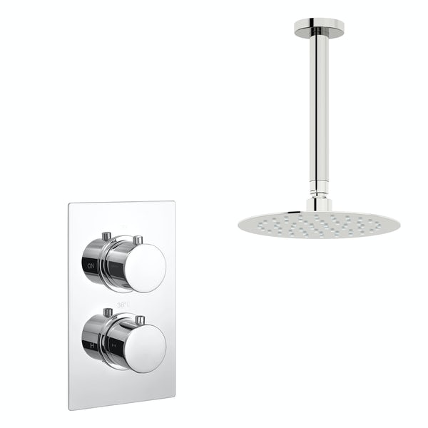 Kirke Curve concealed thermostatic mixer shower with ceiling arm