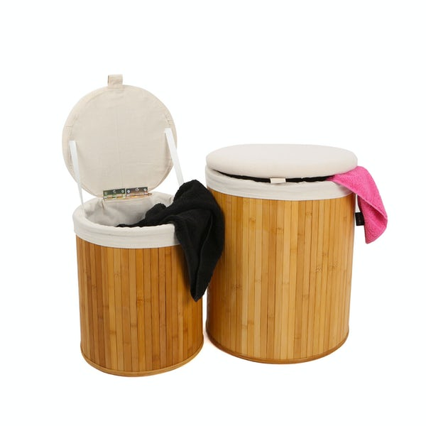Accents Set of 2 Natural bamboo brown round laundry baskets
