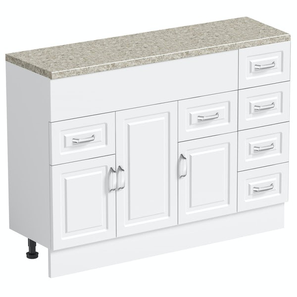 Orchard Florence white 850mm, multi drawer unit & plinth with beige top