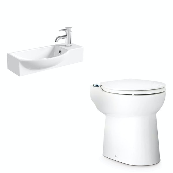 Saniflo Sanicompact cloakroom solution with cisternless back to wall toilet, macerator and small basin 415mm