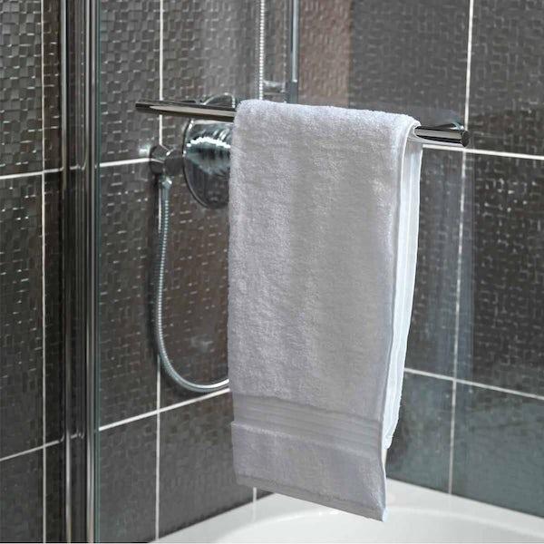 Curved Single Bath Screen with Towel Rail