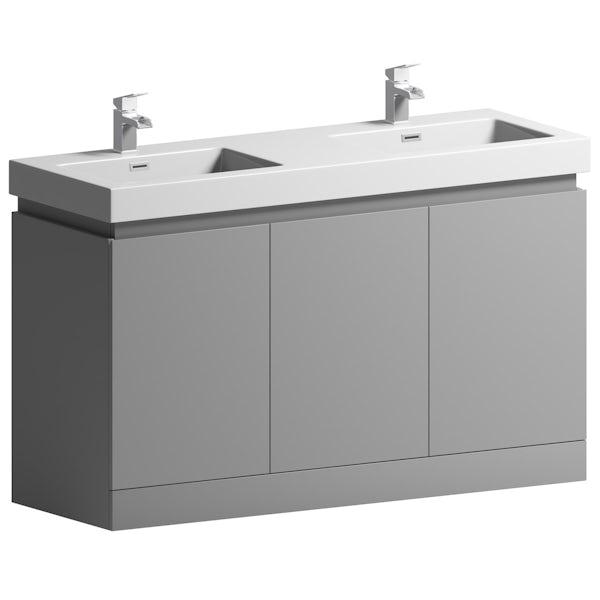 Mode Hardy slate matt grey floorstanding double vanity unit and basin 1380mm