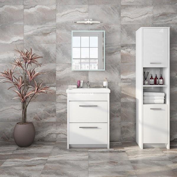 Mode Mayne LED illuminated mirror cabinet 600 x 500mm with demister & charging socket