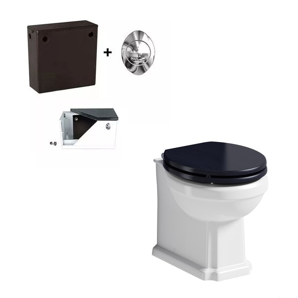 The Bath Co. Traditional back to wall toilet with Beaumont sapphire blue toilet seat and concealed cistern