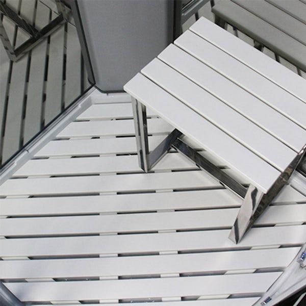 Insignia Platinum black framed quadrant steam shower cabin