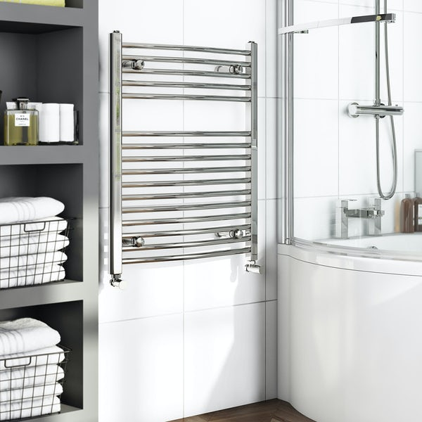 Curved Heated Towel Rail 750 x 600