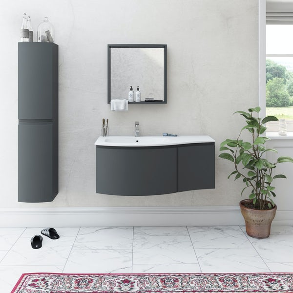 Mode Harrison slate furniture package with left handed wall hung vanity unit 1000mm