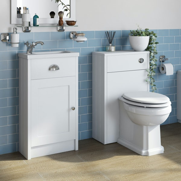 The Bath Co. Dulwich matt white cloakroom combination with traditional toilet and white wooden seat