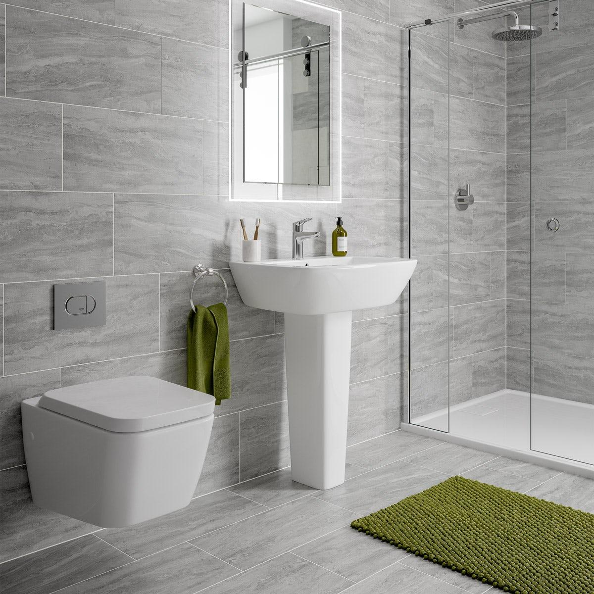 Floor Tiles Bathroom Grey Image Of