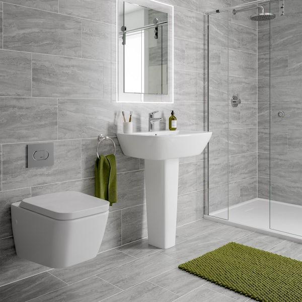 Alaska grey marble effect matt wall and floor tile 300mm x 600mm