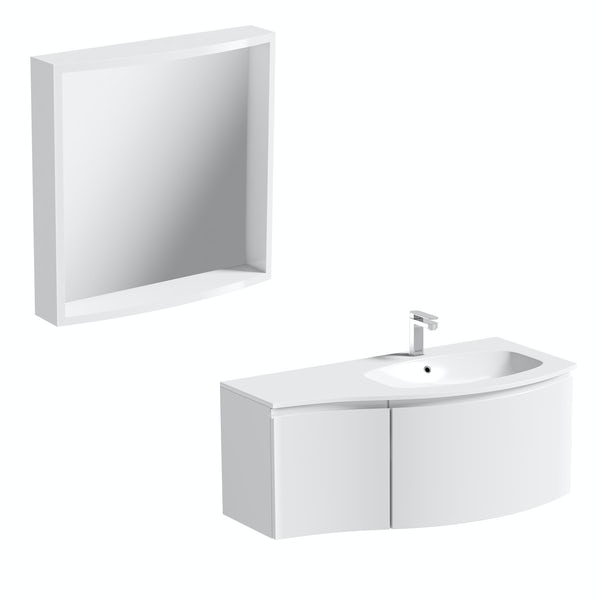 Mode Harrison snow right handed wall hung vanity unit 1000mm with mirror