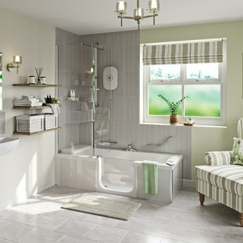 Kineduo right handed complete easy access shower bath with screen and white panel 1700 x 750