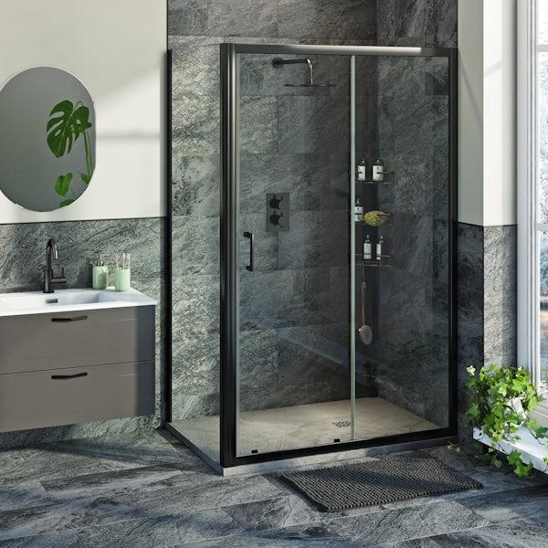 Mode 6mm black framed shower enclsoure bundle with grey slate effect shower tray 1200 x 800
