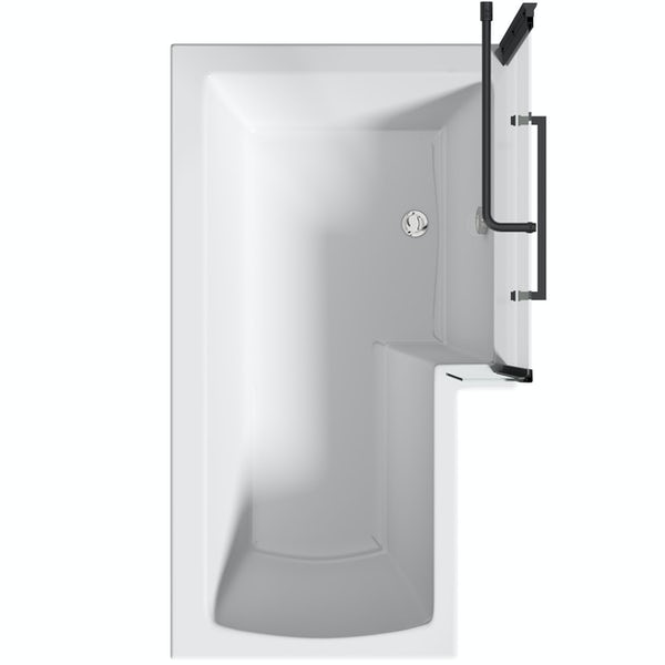 Orchard L shaped right handed shower bath with 6mm matt black shower screen with rail