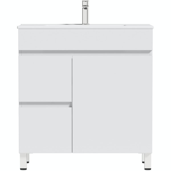 Orchard Thames white floorstanding vanity unit and ceramic basin 760mm