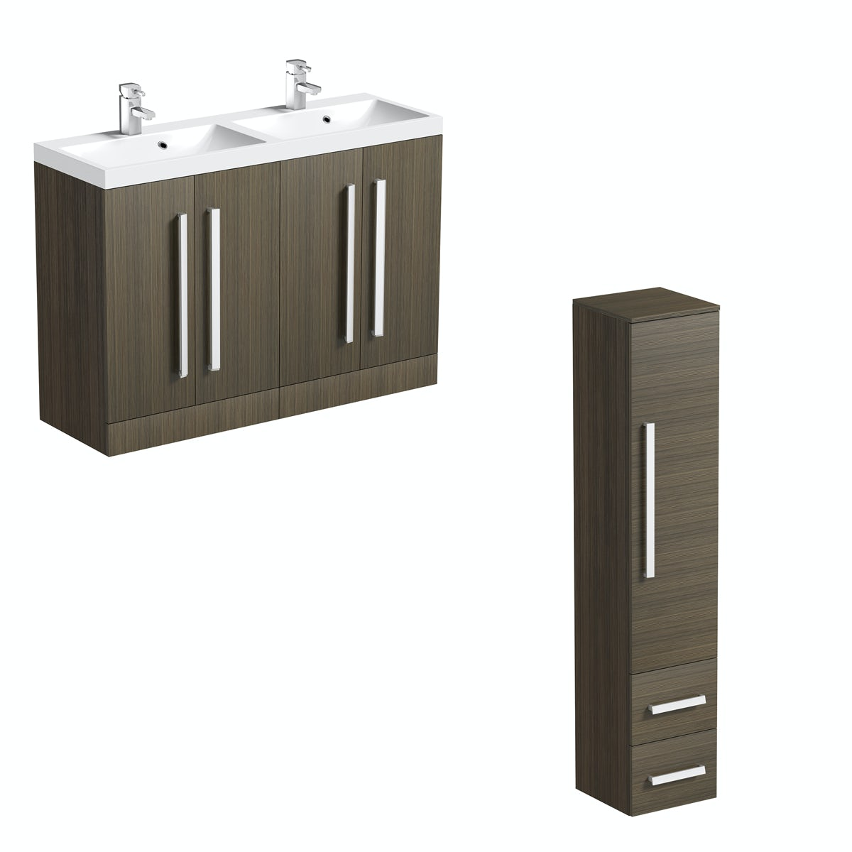 Orchard Wye walnut floorstanding double vanity unit and basin with storage unit set