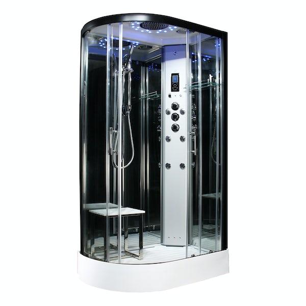 Insignia Platinum black framed offset quadrant right handed hydro-massage shower cabin 1100 x 700