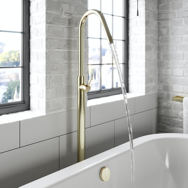 Mode Spencer round gold freestanding bath filler tap