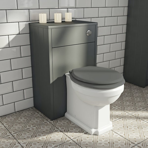 The Bath Co. Dulwich stone grey back to wall unit and toilet with white wooden seat