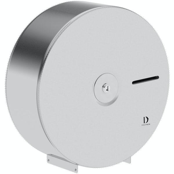 Dolphin commercial satin stainless steel jumbo roll dispenser