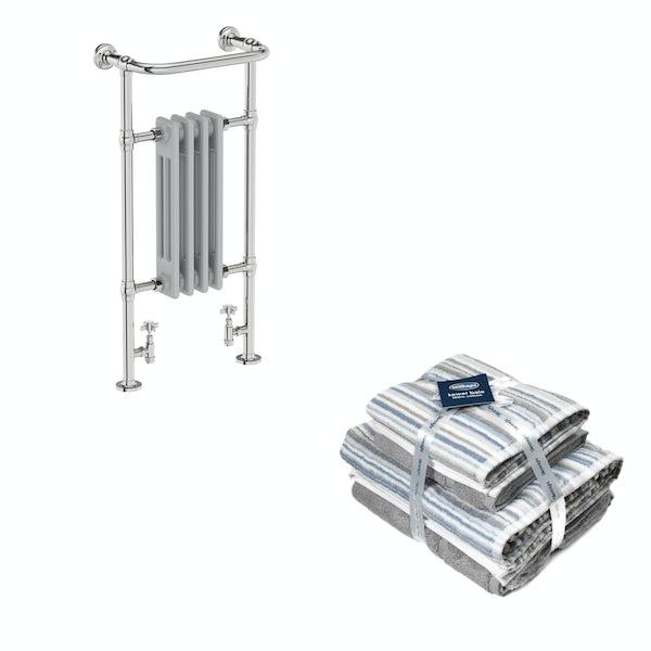 The Bath Co. Dulwich satin grey traditional radiator 952x479 with Silentnight Zero twist grey 4 piece towel bale