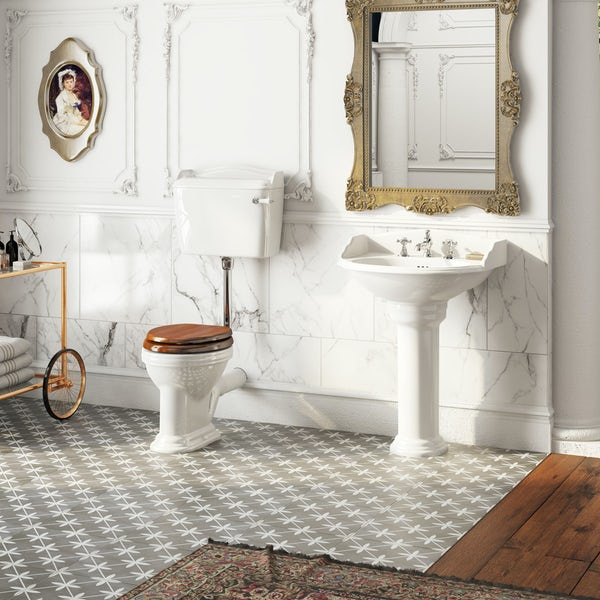 The Bath Co. Charlet low level toilet and full pedestal suite with chrome fittings and taps