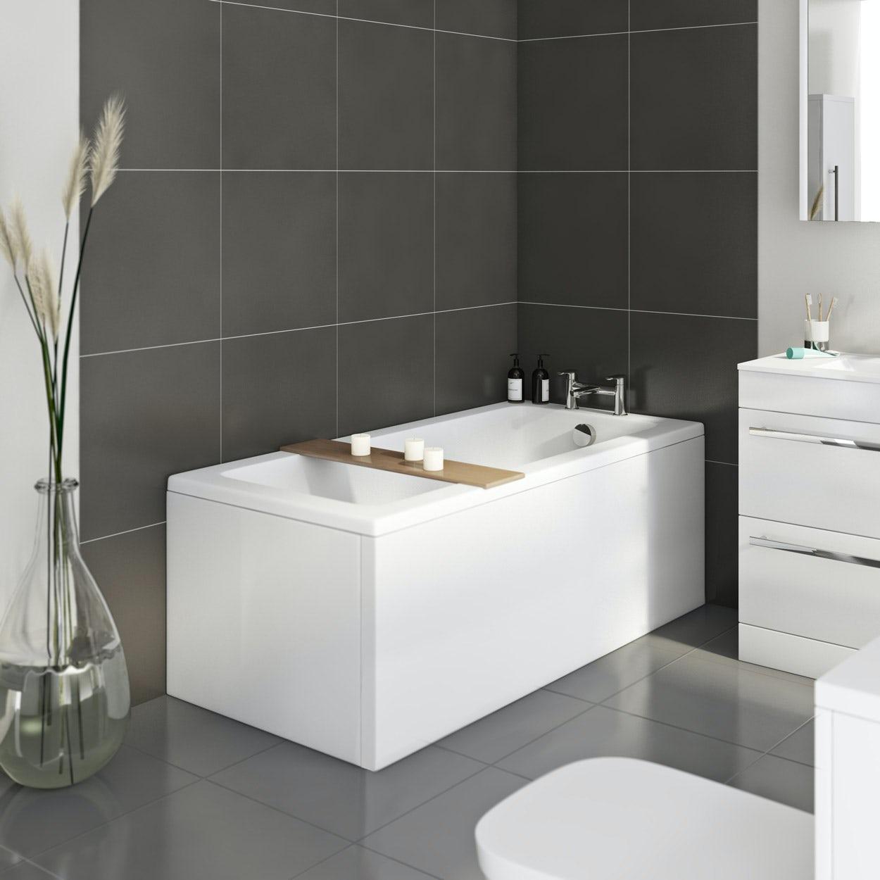 1700 x 750 Designer Square Single Ended Bath Straight Bathroom Bathtub