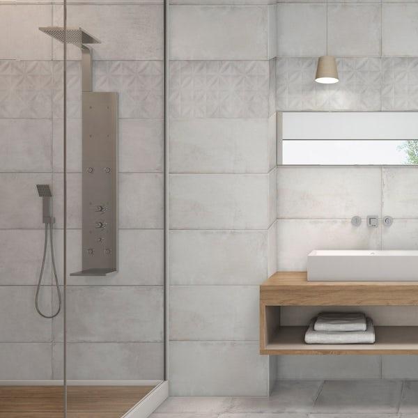 Geneva white stone effect textured leaves wall tile 250mm x 600mm