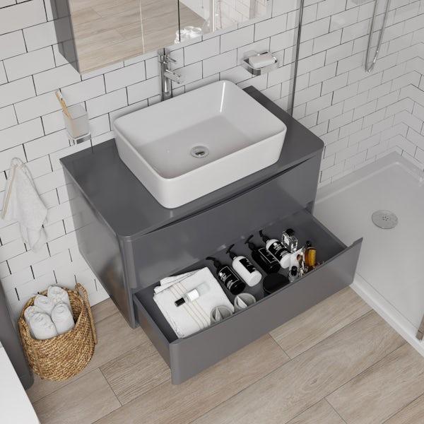 Mode Adler grey 800mm wall hung vanity unit and countertop