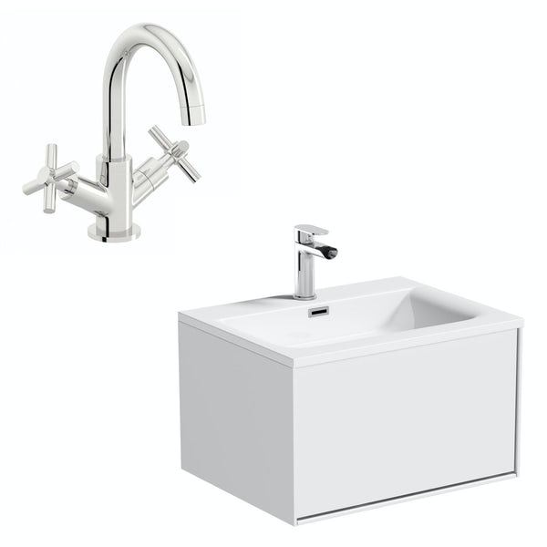 Mode Burton white wall hung vanity unit and basin 600mm with tap