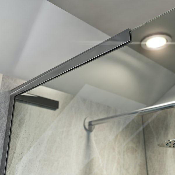 Mode 8mm walk in left handed shower enclosure bundle with black slate effect shower tray